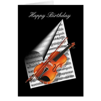 Violin and Music Sheet Card