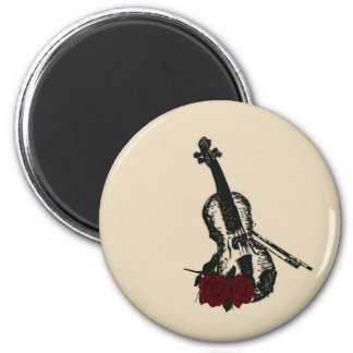 Violin and Roses 6 Cm Round Magnet