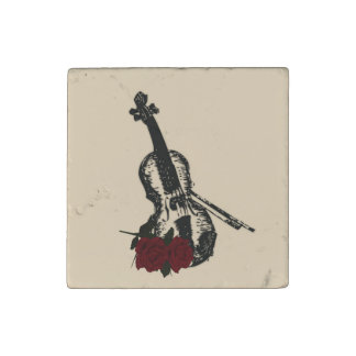 Violin and Roses Stone Magnet
