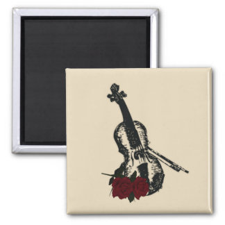 Violin and Roses 2 Inch Square Magnet