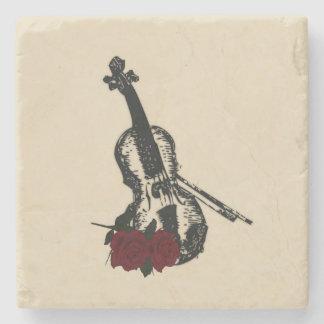 Violin and Roses Stone Beverage Coaster