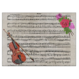 Violin and Roses Vintage Sheet Music Design Cutting Board