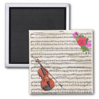 Violin and Roses Vintage Sheet Music Design Magnet