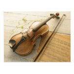 Violin and Sheet Music Post Card