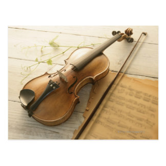 Violin and Sheet Music Postcard