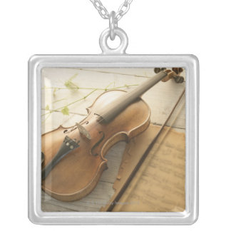 Violin and Sheet Music Silver Plated Necklace
