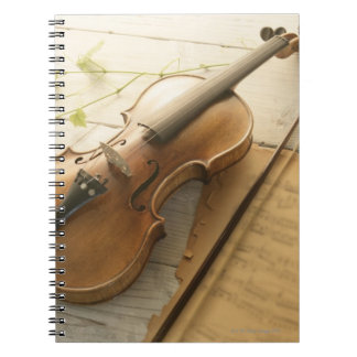 Violin and Sheet Music Spiral Notebook