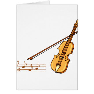 Violin bow and music  staff in brown graphic note card