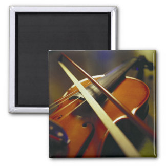 Violin & Bow Close-Up 1 Square Magnet