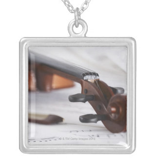 Violin Bow Silver Plated Necklace