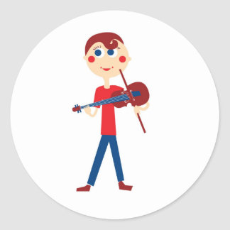 Violin boy classic round sticker