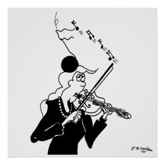 Violin Cartoon 2178 Poster
