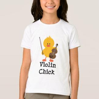 Violin Chick Kids Ringer Tee