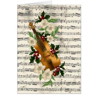 Violin Christmas Card on Music Sheet