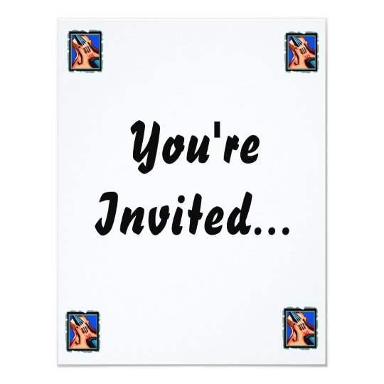 Violin close up graphic blue background abstract 11 cm x 14 cm invitation card
