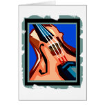 Violin close up graphic blue background abstract card