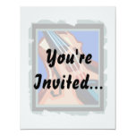 """Violin close up graphic blue background abstract 4.25"""" x 5.5"""" invitation card"""