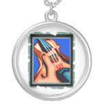 Violin close up graphic blue background abstract necklace