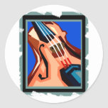 Violin close up graphic blue background abstract stickers