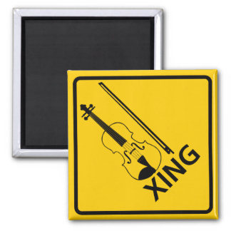 Violin Crossing Highway Sign Magnet