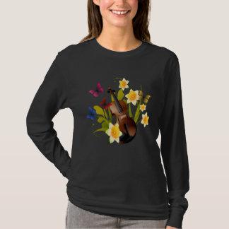 VIOLIN, FLOWERS AND BUTTERFLIES T-Shirt