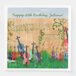 Violin Garden Optional Birthday Message Disposable Napkins