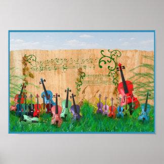 Violin Garden Poster