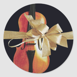 Violin Holiday Classic Round Sticker