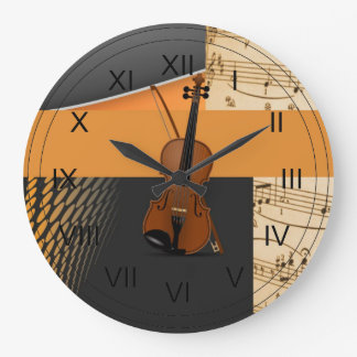 Violin in Abstract Music-Theme Large Clock