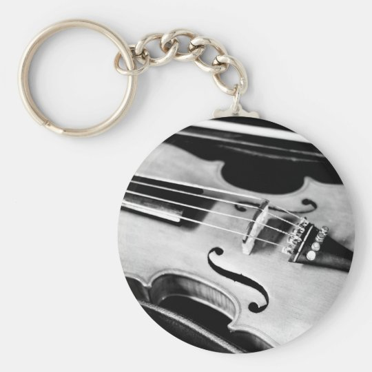 Violin in Case Basic Round Button Key Ring