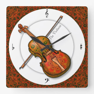 Violin in Formal Dress Square Wall Clock