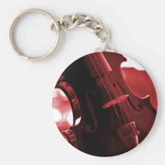 Violin in Red and Black Key Ring