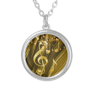 Violin key elegant silver plated necklace