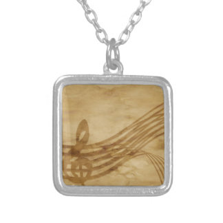 Violin key silver plated necklace