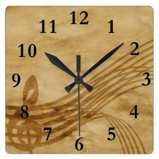 Violin key square wall clock