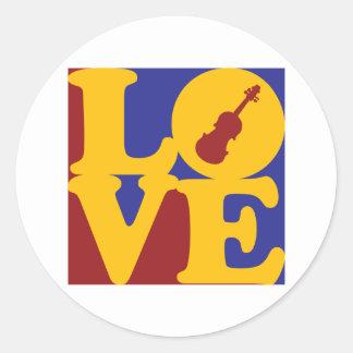 Violin Love Round Sticker
