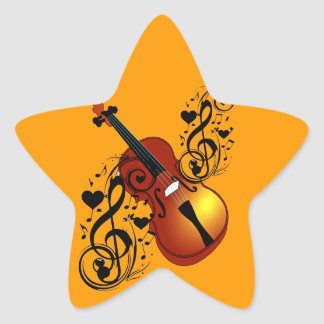 Violin,Lover at Heart_ Star Sticker