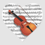 Violin Lover_ Heart Stickers