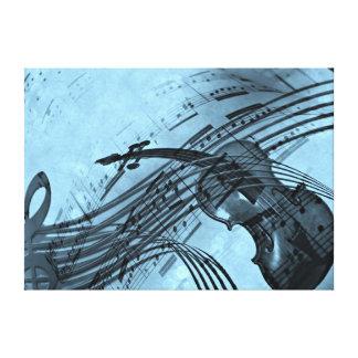 Violin Music Design in Light Blue Canvas Print