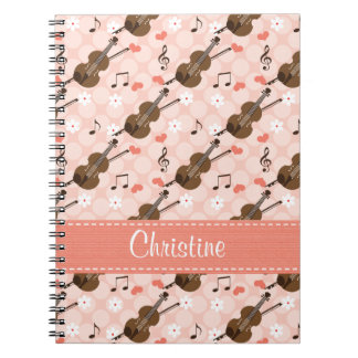 Violin Music Note Spiral Notebook Journal