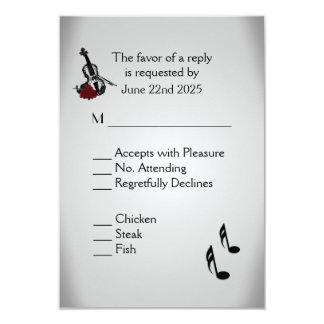 Violin Music Wedding Menu RSVP 9 Cm X 13 Cm Invitation Card