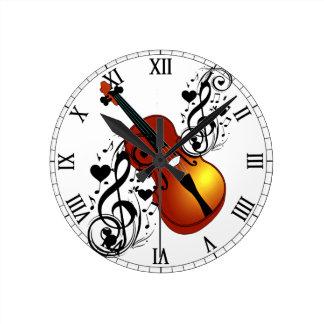 Violin,My Love_ Round Clock