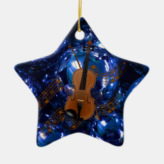 Violin on Christmas Blue Baubles Ceramic Star Decoration