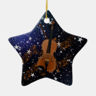 Violin on Starry Sky Christmas Ornament