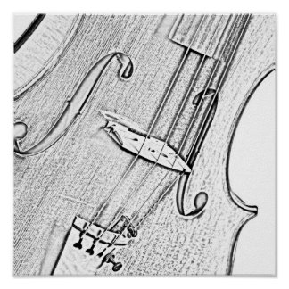 Violin or Viola Ink Drawing Poster