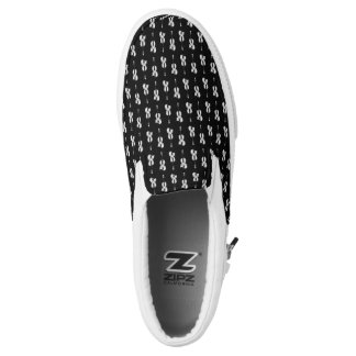 Violin Pattern - Black and White Slip-On Shoes