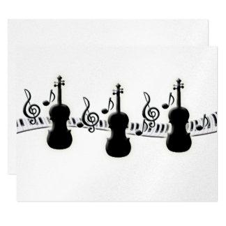 Violin Piano Keyboard and Music Notes Card