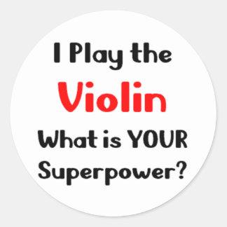 Violin player round sticker