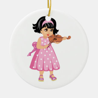 violin player young girl pink dress.png christmas ornament