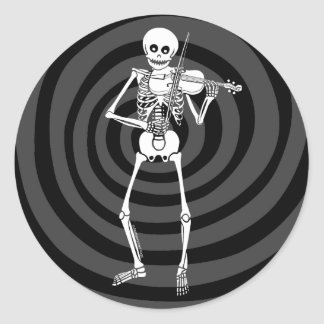 Violin Playing Skeleton Classic Round Sticker